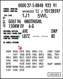 The PR Numbers (Primary Equipment) classify some spare parts for VAG vehicles. They are listed on the vehicle data adhesive or in the service handbook